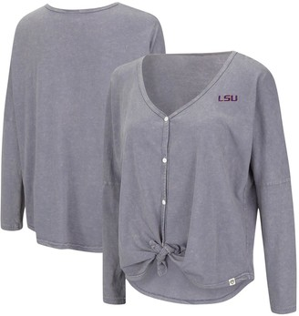 Colosseum Women's Gray LSU Tigers Charity Button-Up Tie-Front Long Sleeve Top