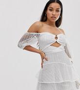 Asos DESIGN Petite bardot mini dress in broderie lace with circle trim detail