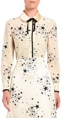 Miu Miu Star-Print Silk Button-Front Blouse