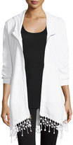 XCVI Crochet-Hem Zip-Front Jacket, White