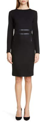 Max Mara Xeno Leather Detail Long Sleeve Dress