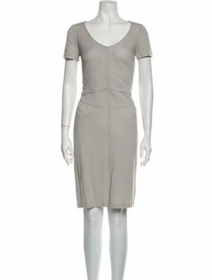 St. John Scoop Neck Knee-Length Dress Grey