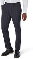 Topman Men's Muscle Fit Check Suit Trousers
