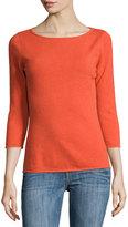 Neiman Marcus Cashmere Boat-Neck Pullover Sweater, Orange