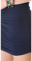 So Low SOLOW Shirred Mesh Muscle Dress