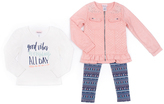 Little Lass Peach Embellished Ruffle Jacket Set - Infant