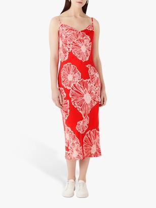 Finery Amela Coral Poppy Print Slip Dress, Orange/Multi