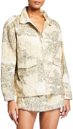 retrofete Idan Sequin Button-Front Jacket