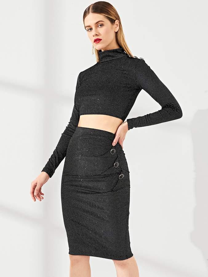 Button Shoulder Glitter Top & Skirt Set