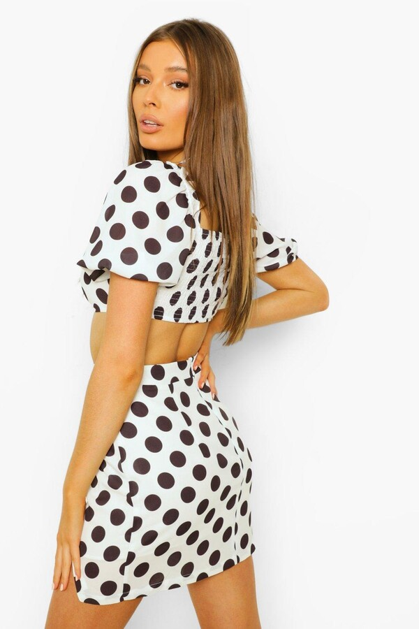 Thumbnail for your product : boohoo Polka Dot Rouched Halterneck Co-ord