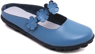Rumour Has It Women's Mules Blue - Blue Floral-Accent Leather Mule - Women