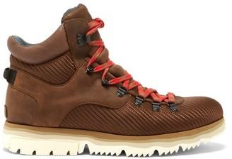 Sorel Atlis Axe Leather And Nylon Hiking Boots - Dark Brown