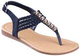 Black Gemstone T-Strap Sandal - Girls