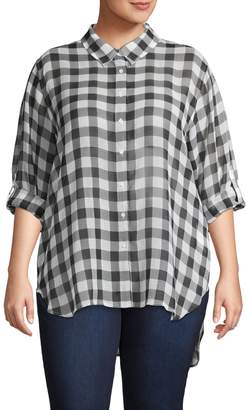 Calvin Klein Plus Gingham Button-Down Shirt