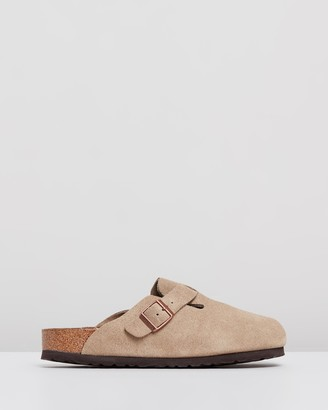 Birkenstock Women's Neutrals Clogs - Womens Boston Suede Leather Narrow Shoes - Size 41 at The Iconic