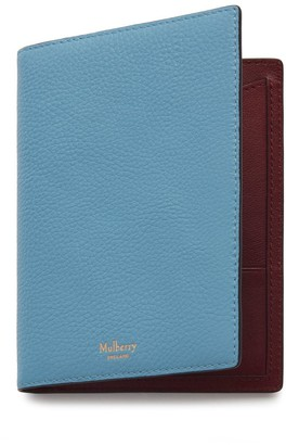 Mulberry Passport Cover Wallet Pale Slate Small Classic Grain