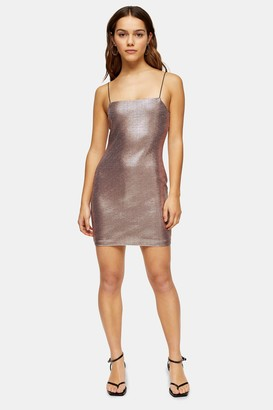 Topshop Womens Petite Rose Pink Holographic Bodycon Dress - Rose Gold