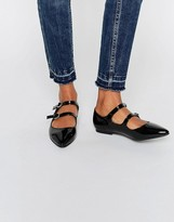 Daisy Street Black Patent Multi Strap Point Flat Shoes