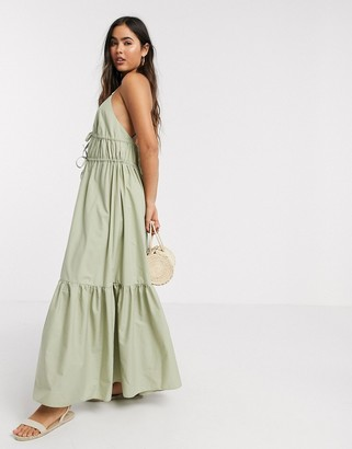 Asos DESIGN cotton poplin plunge cami cross back maxi dress in khaki