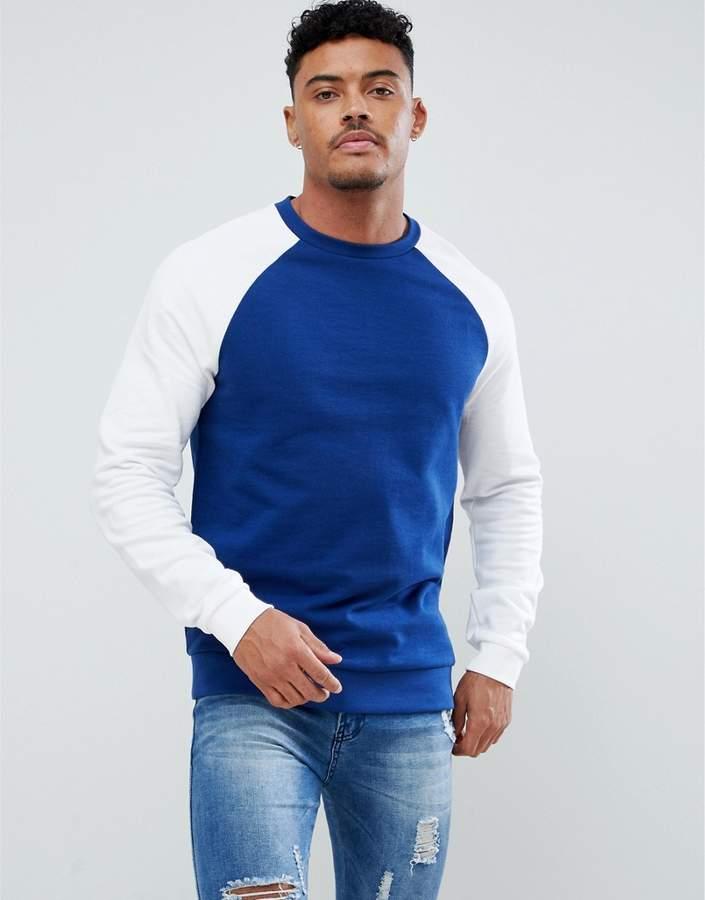 Asos Design DESIGN Sweatshirt With Raglan Sleeves In Dark Blue And White