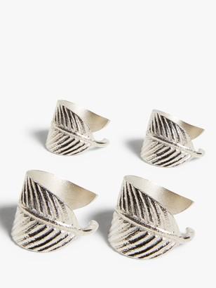 John Lewis & Partners Leaf Wrap Napkin Rings, Set of 4, Silver