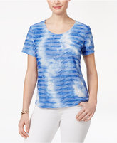 Karen Scott Petite Printed Wave-Texture Top, Only at Macy's