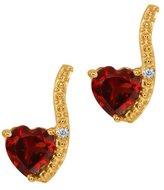 Gem Stone King 1.11 Ct Heart Shape Red Garnet and White Diamond 14k Yellow Gold Earrings