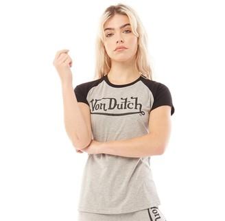 Von Dutch Womens V-Mimosa T-Shirt Grey Marl/Black