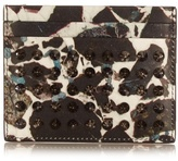 Christian Louboutin Carrare Marble-print Spike Leather Cardholder