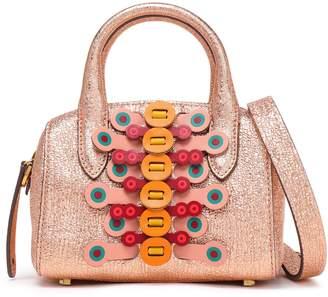 Anya Hindmarch Appliqued Metallic Cracked-leather Shoulder Bag