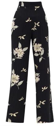 Etro Lily-print Jacquard-satriped Satin-faille Trousers - Black White
