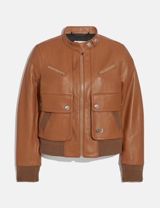 Coach Leather Bomber Jacket