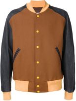 Maison Margiela colour block bomber jacket - men - Cotton/Linen/Flax/Nappa Leather/Virgin Wool - 50