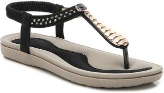 Siketu Women's Sandals Black - Black Metallic Rhinestone T-Strap Sandal - Women