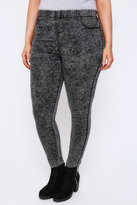 Yours Clothing Dark Grey Acid Wash Pull On Stretch Jeggings