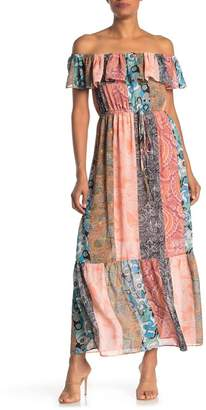 Know One Cares Patch Print Off-the-Shoulder Maxi Dress