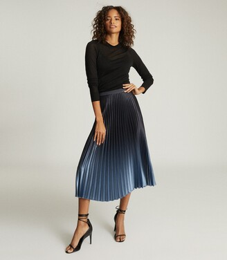 Reiss Marlene - Ombre Pleated Midi Skirt in Blue