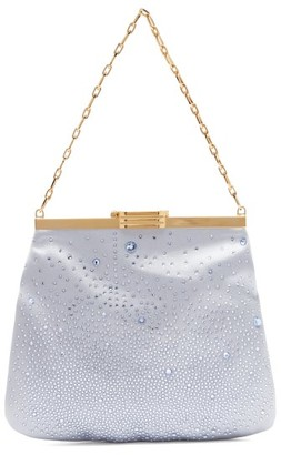 BIENEN-DAVIS 4am Crystal & Satin Clutch Bag - Light Blue