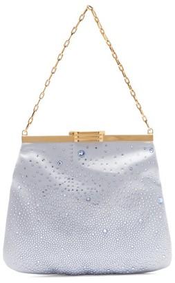 Bienen Davis Bienen-davis - 4am Crystal & Satin Clutch Bag - Womens - Light Blue