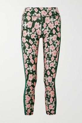 The Upside Poppy Velvet-trimmed Floral-print Stretch Leggings - Green
