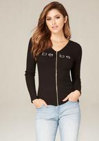 Bebe Logo Lace Up Zip Top