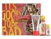 Ed Hardy Villain for Women by Eau de Parfum Spray 75ml, Eau de Parfum Mini Spray 7.5ml & Body Lotion 90ml by