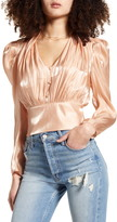 Leith Shine Long Sleeve Button Front Blouse