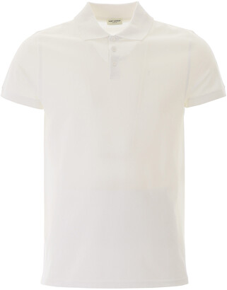 Saint Laurent POLO SHIRT WITH EMBROIDERED LOGO L White Cotton