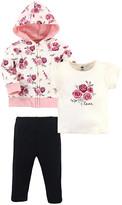 Hudson Baby Girls' Casual Pants Rose - Pink & White Rose 'Love' Tee Set - Toddler & Girls