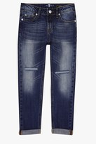7 For All Mankind Girls 7-14 Josefina 5-Pocket Skinny Boyfriend Stretch Denim Jeans In Rigid Sanded Blue
