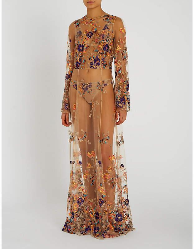 I.D. Sarrieri Floral-embroidered tulle dress