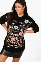 boohoo Maternity Lisa Embroidered Jumper