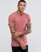 Asos Extreme Muscle Jersey Polo In Dark Pink