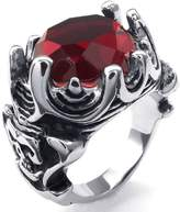 Stainless Steel Rings, Men's Wedding-bands Crystal Rings Gothic Skull Crown Size 9 Epinki